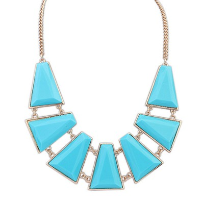 Promo Light Blue Seven Geometric Shape Gemstone Decorated Alloy Bib Necklaces