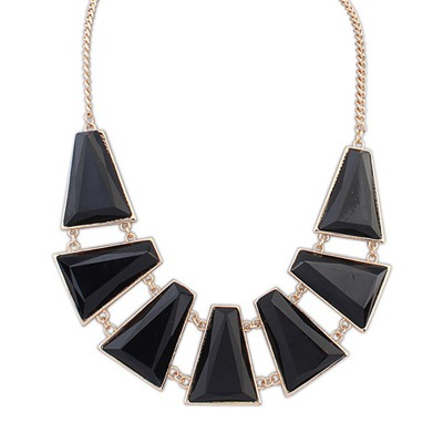 Memorable Black Seven Geometric Shape Gemstone Decorated Alloy Bib Necklaces