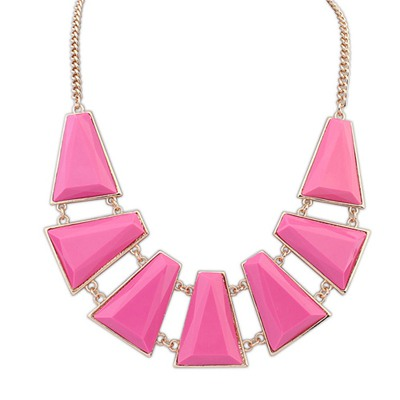 Local Plum Red Seven Geometric Shape Gemstone Decorated Alloy Bib Necklaces