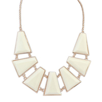 Lush Beige Seven Geometric Shape Gemstone Decorated Alloy Bib Necklaces