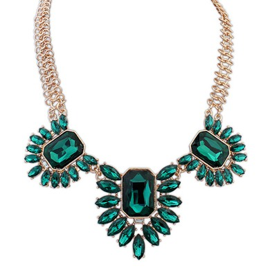 Upper Green Geometric Shape Gemstone Decorated Design Alloy Bib Necklaces