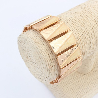 Sheer Beige Square Shape Double Color Design Alloy Korean Fashion Bracelet
