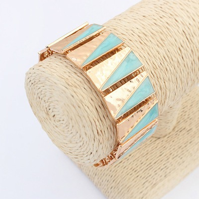 Dash Light Blue Square Shape Double Color Design Alloy Korean Fashion Bracelet