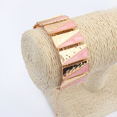 Scottish Pink Square Shape Double Color Design Alloy Korean Fashion Bracelet