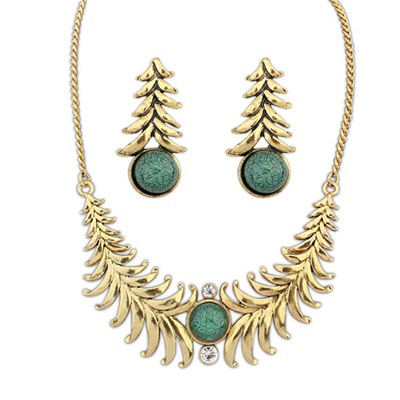 Corduroy Green Exotic Personality Geometric Shape Design Alloy