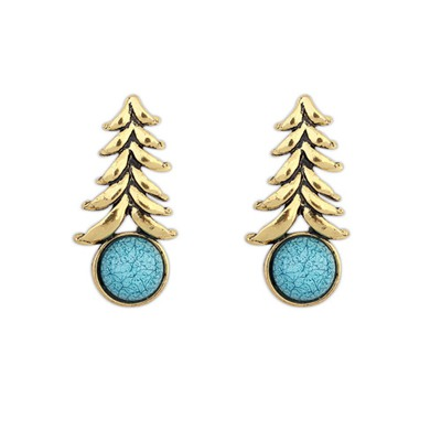 Apparel Blue Round Gemstone Decorated Personality Design Alloy Stud Earrings