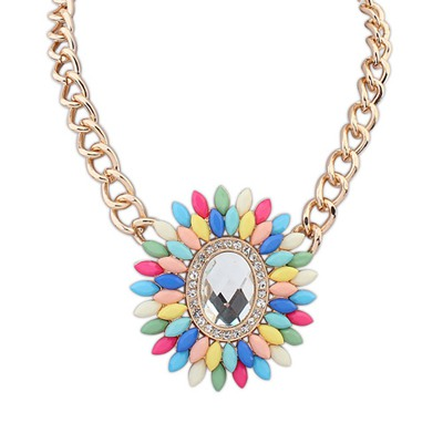 Contempora Multicolor Oval Shape Decorated With Gemstone Pendant Design Alloy Bib Necklaces