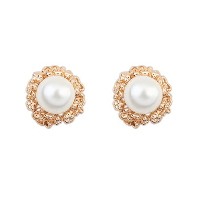Personaliz White Big Pearl Decorated Design Alloy Stud Earrings