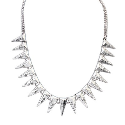 Legal Antique Silver Cone Shape Decorated Design Alloy Bib Necklaces