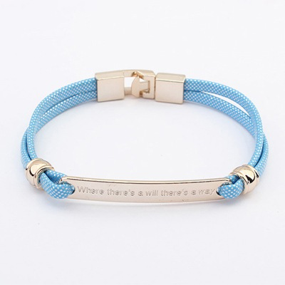 Tory Light Blue Metal Decorated Simple Design CCB Korean Fashion Bracelet