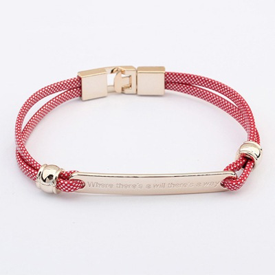 Drawstring Red Metal Decorated Simple Design CCB Korean Fashion Bracelet