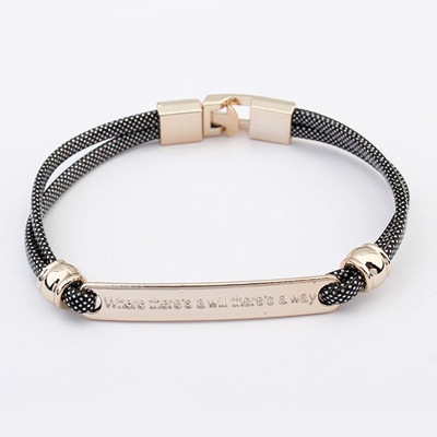 Pierced Black Metal Decorated Simple Design CCB Korean Fashion Bracelet