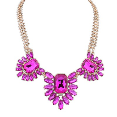 Wishbone Purplish Red Gemstone Decorated Design Alloy Bib Necklaces