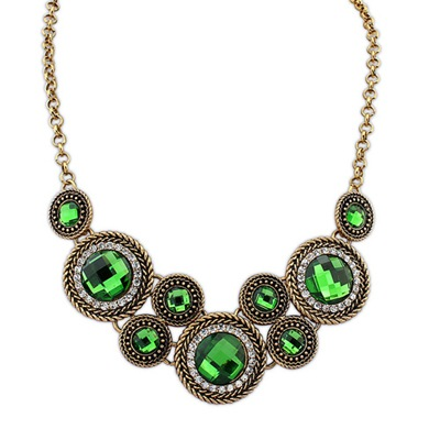 Buckle Antiqur Gold&Green Vintage Round Gemstone Decorated Design Alloy Bib Necklaces