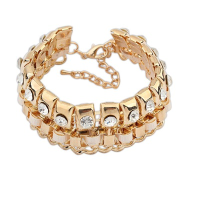 Casual White Diamond Decorated Double Layer Design Alloy Korean Fashion Bracelet