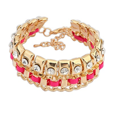 Pendant Plum Red Diamond Decorated Double Layer Design Alloy Korean Fashion Bracelet