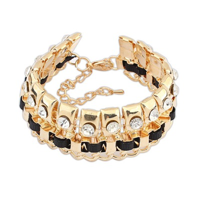 Designer Black Diamond Decorated Double Layer Design Alloy Korean Fashion Bracelet