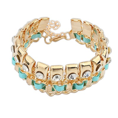 Glueless Blue Diamond Decorated Double Layer Design Alloy Korean Fashion Bracelet