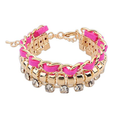 Folding Purplish Red Chain And Rope Weaving Design Alloy Korean Fashion Bracelet