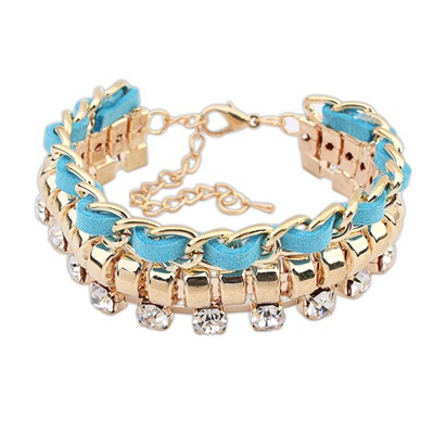 Fall Blue Chain And Rope Weaving Design Alloy Korean Fashion Bracelet