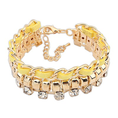 Memorable Yellow Chain And Rope Weaving Design Alloy Korean Fashion Bracelet