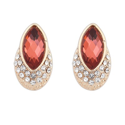 Estate Claret-Red Delicate Gemstone Decorated Design Alloy Stud Earrings