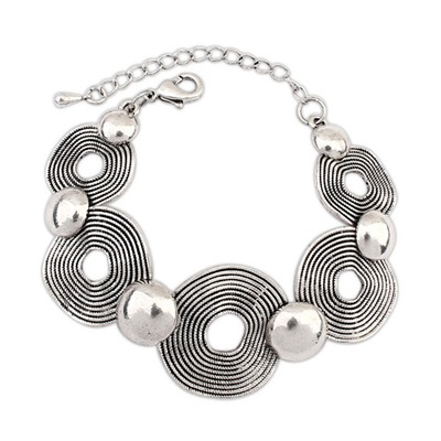Small Silver Color Vintage Hollow Circle Decorated Design Alloy Korean Fashion Bracelet