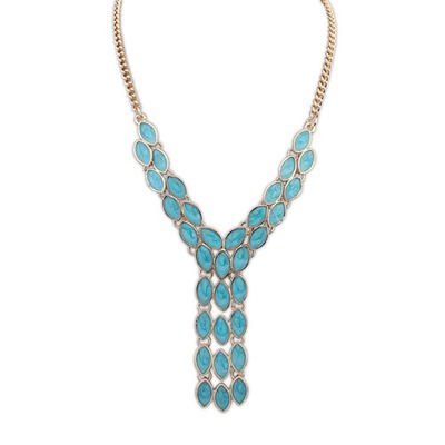 Graduation Light Blue Gemstone Tassel Pendant Design Alloy Bib Necklaces