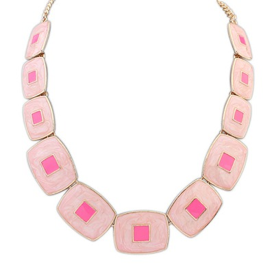 Monarch Pink Square Shape Gemstone Collar Design Alloy Bib Necklaces