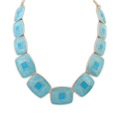 Expired Light Blue Square Shape Gemstone Collar Design Alloy Bib Necklaces