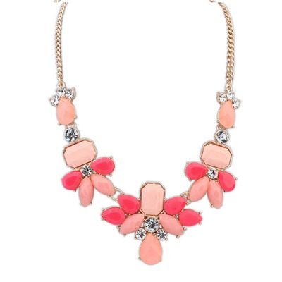 Used Pink Sweet Gemstone Decorated Design Alloy Bib Necklaces