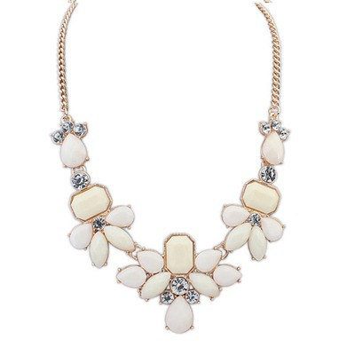 Roller Beige Sweet Gemstone Decorated Design Alloy Bib Necklaces