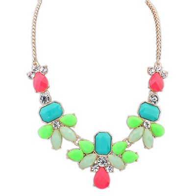 Softshell Multicolor Sweet Gemstone Decorated Design Alloy Bib Necklaces
