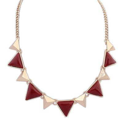 Human Red Two Colors Triangle Gemstone Decorated Design Alloy Bib Necklaces