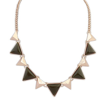 Steelers Army Green Two Colors Triangle Gemstone Decorated Design Alloy Bib Necklaces