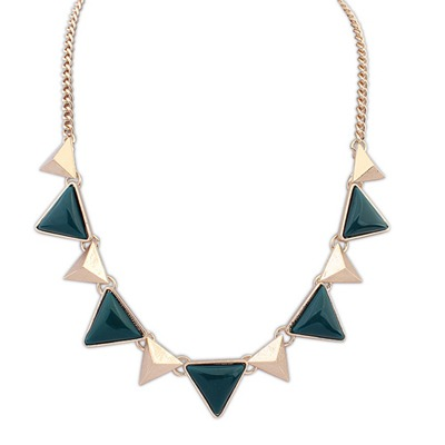 Milly Blue Ink Two Colors Triangle Gemstone Decorated Design Alloy Bib Necklaces