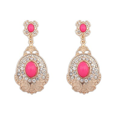 Timeless Plum Red Diamond Decorated Oval Shape Design Alloy Korean Earrings