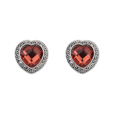 Carters Claret-Red Heart Shape Gemstone Design Alloy Stud Earrings