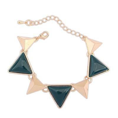 Physical Blue Ink Triangle Gemstone Decorated Design Alloy Korean Fashion Bracelet