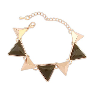 Fashion Army Green Triangle Gemstone Decorated Design Alloy Korean Fashion Bracelet