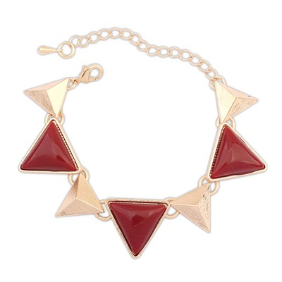 Tungsten Red Triangle Gemstone Decorated Design