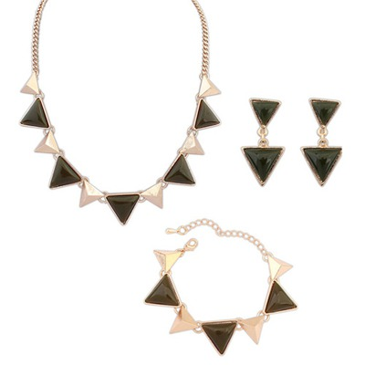 Inexpensiv Army Green Triangle Gemstone Decorated Design Alloy Jewelry Sets