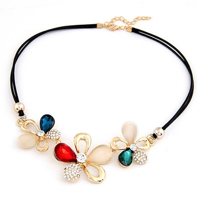 Caspari Multicolor Gemstone Flower Decorated Design Alloy Bib Necklaces