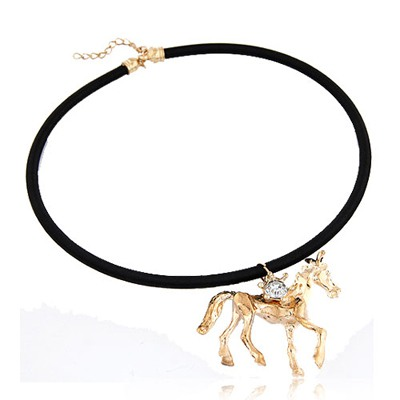 Male Gold Color Lucky Horse Decorated Simple Design Alloy Pendants