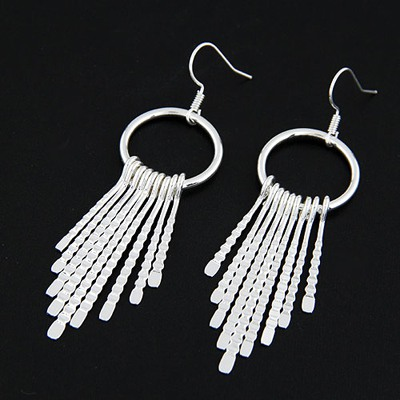Celebrity Silver Color Metal Tassel Pendant Simple Design Alloy Korean Earrings