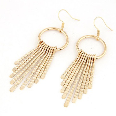 Metallic Gold Color Metal Tassel Pendant Simple Design Alloy Korean Earrings