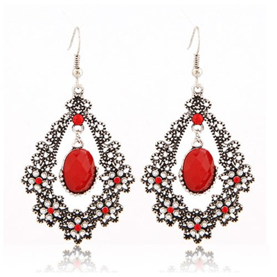 Simple Red Diamond Flower Water Drop Temperament Design Alloy Korean Earrings
