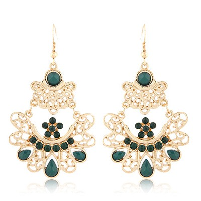 Hiphop Dark Blue Bohemia Style Hollow Out Metal Design Alloy Korean Earrings