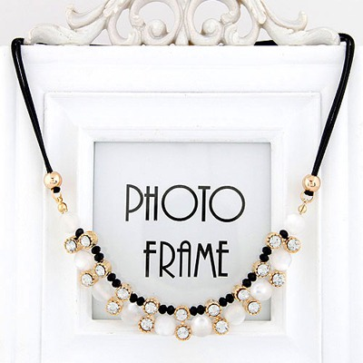Custom White Double Layer Diamond Pendant Design Alloy Bib Necklaces