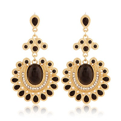 Splendid Black Vintage Sunflower Shape Design Alloy Korean Earrings